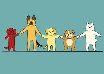 手をつなぐ犬たち