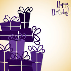 Pile of presents card in vector format.