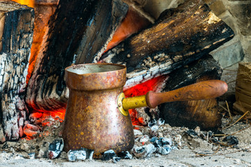 Turkish coffee cooked over hot coals