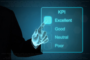 business hand clicking KPI on touch screen