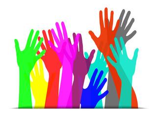 mains de couleurs