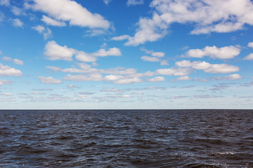 Line of horizon, water and the sky