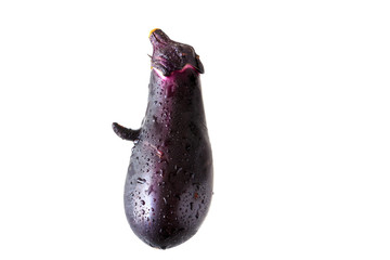 Face shaped Eggplant on white background