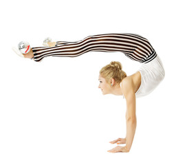Gymnast woman flexible body standing on arms, training stretchin