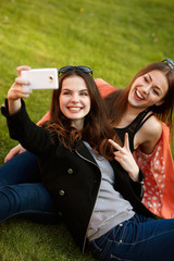 Two Women Taking Selfie Photo