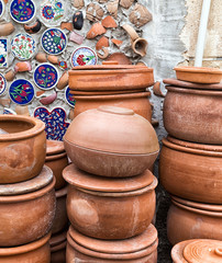 handmade old clay pottery ceramics