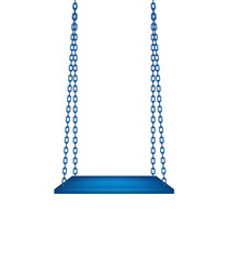 Wooden blue swing hanging on blue chains