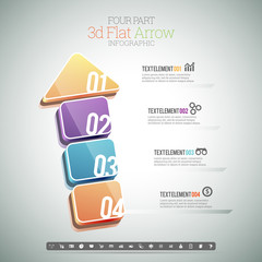 Four Part 3D Flat Arrow Infographic