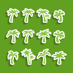 coconut tree icon set, sticker version, vector eps10.