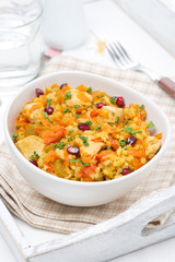 rice with vegetables, chicken and pomegranate, vertical
