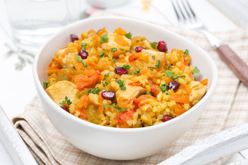 rice with vegetables, chicken and pomegranate