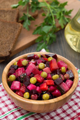Russian beetroot salad vinaigrette in a bowl