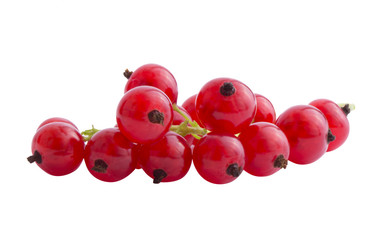 Cluster of red currents isoleted on a white background