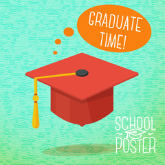 Cute school, college, university poster - graduation cap, with