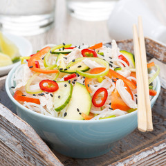 Thai salad with vegetables, rice noodles and chicken, close-up