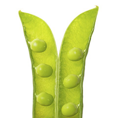 Open pea pod isolated on white background