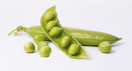 Fresh peas with pea pods