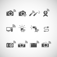 wireless camera icon set, vector eps10