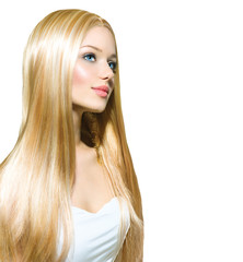 Beautiful Blond Girl isolated on a White Background