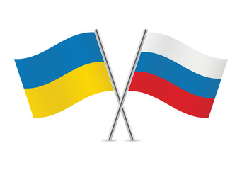 Ukraine and Russia flags. Vector illustration.