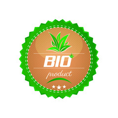 Bio product button, green leaves