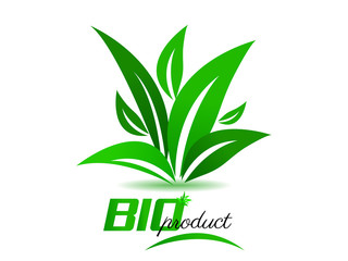 Bio product, background with green leaves