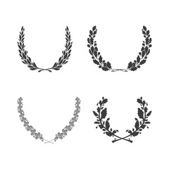 Set of vector black and white circular foliate wreaths