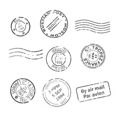 Vector set of vintage style post stamps