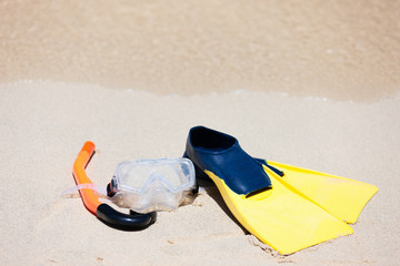 Snorkeling equipment on sand