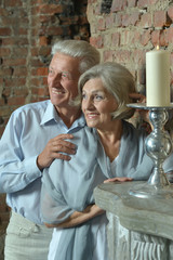 Elderly couple sitting in vintage interior