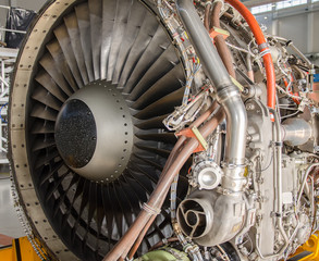 Dismantled plane engine. Aircraft maintenance.