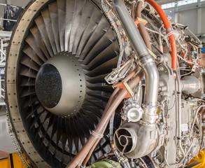 Dismantled plane engine. Aircraft maintenance.