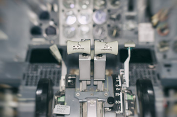 View of aircraft thrust lever. Motion effect.