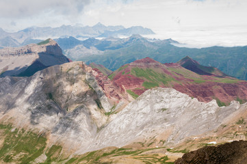 Panoramic view from Bisaurin mountain, Pyrenees of Huesca, Spain