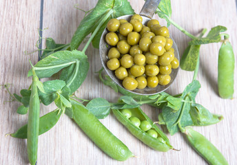 Boiled green peas, pods and branches