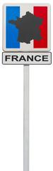 carte de France sur panneau de signalisation