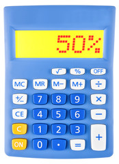 Calculator with 50% on display on white background
