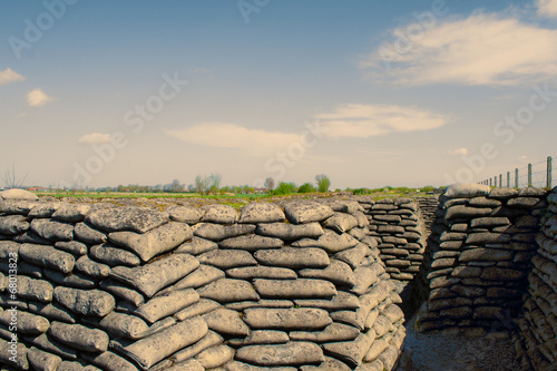 Papiers peints Fortification Trenches of world war one sandbags in Belgium