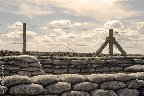 Trenches of world war one sandbags in Belgium - 68013835