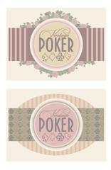 Two old vintage poker banners, vector illustration
