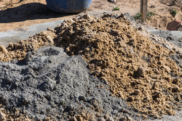 mixing cement and sand