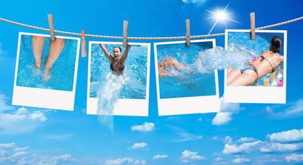 Mädchen auf Polaroid im Pool