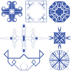 Vector of decorative line art circle and corner