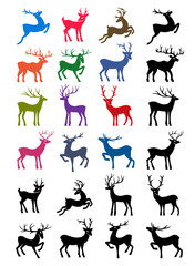 Colored & black outlined deer vector silhouettes