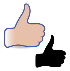 Like social networks thumb up hand sign button