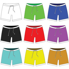 Icon of shorts in different colors. Raster