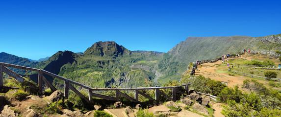 Panoramique du cirque de Mafate depuis le Maïdo, La Réunion.