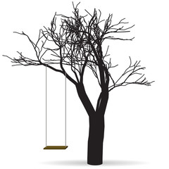 Black tree with a swing. Raster