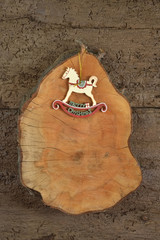 Rocking horse rustic Christmas background