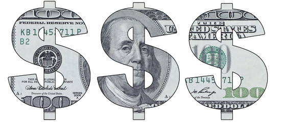 Stencil sign of the dollar banknotes at a hundred dollars